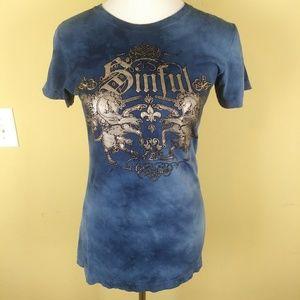 Affliction Sinful Womens Tshirt Tie Dye Unicorns
